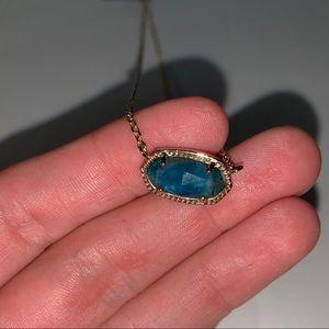Elisa Gold Pendant Necklace In Aqua Apatite
